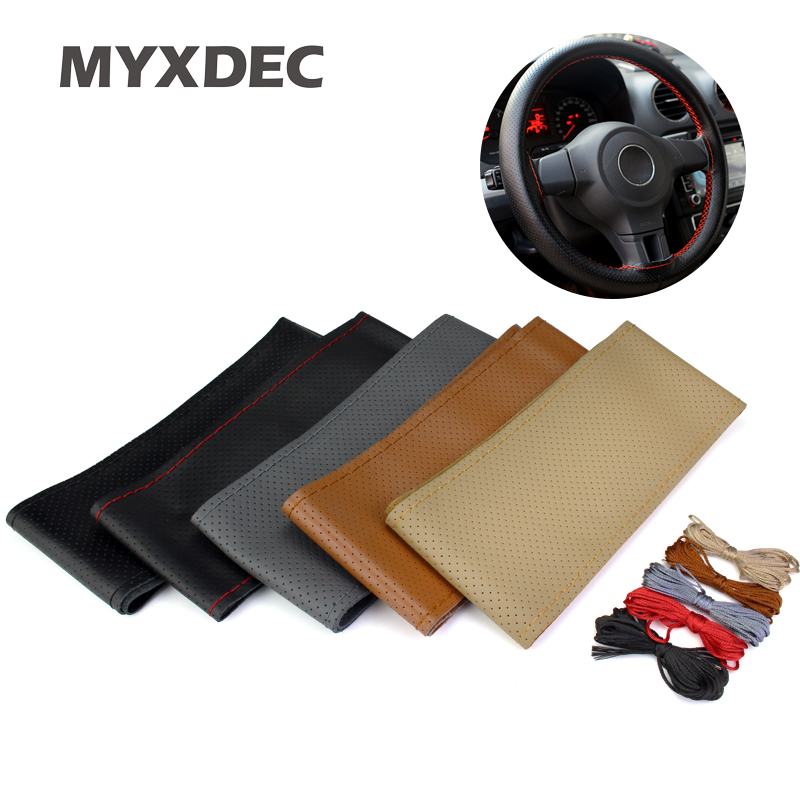 Hot Selling Popular New DIY Car Cowhide Genuine Leather Steering Wheel Cover With Hole Size M 37-38CM Black/Gray/Brown/Beige цена