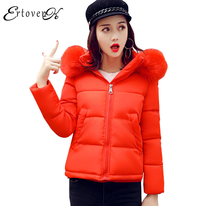 2017 New Women Coat Big Fur collar Hooded Plus size Winter Female Basic Jacket Thickening Warm Short Section Cotton Overcoat C36 women winter coat leisure big yards hooded fur collar jacket thick warm cotton parkas new style female students overcoat ok238