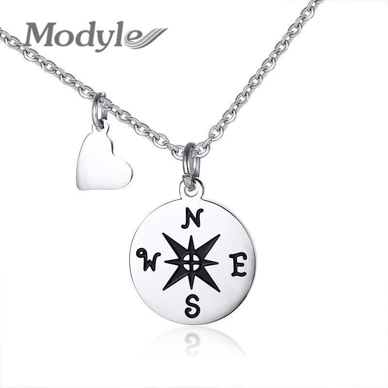 Modyle bússola colares para melhor amigo presente de aço inoxidável pequeno delicado pingente colar para a mulher