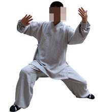 CUSTOMIZE 16colorUNISEX LINEN Wudang martial arts suits kung fu uniforms Tai chiTaoist priest clothing sets dark blue/green/gray(China)
