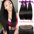 Straight Malaysian Hair With Frontal Ear To Ear Lace Frontal Closure With Bundles Cheap Human Hair Bundles With Full Frontal