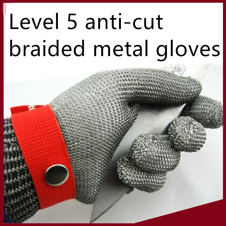 Level 5 anti-cut braided metal stainless steel with the metal buckle gloves cut-resistant glove cut resistant glove level 5 wire anti edge anti stab knife cut resistant gloves stainless steel wire1pcs price