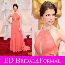 Eine Linie Halter Bördelte Anna Kendrick Roter Teppich-kleid zu 2015 Oscar Awards Korallen Chiffon-Berühmtheit Prom Abendkleid