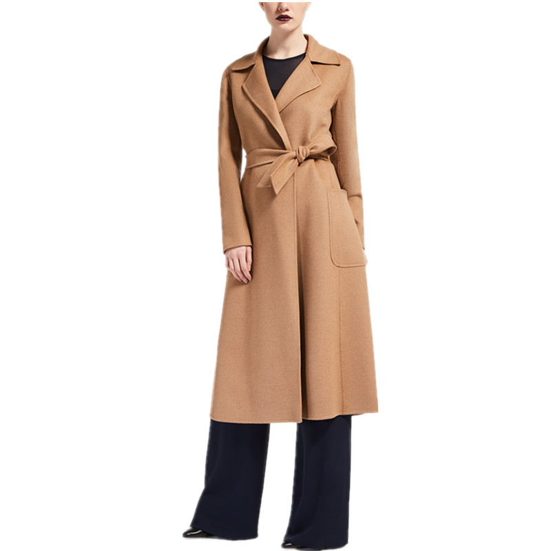 2020 Spring Winter Ladies Black Camel Grey Cashmere look Maxi Long design Robe coat with belt High quality Women overcoat Wool & Blends  - AliExpress