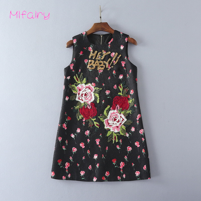2017 Black O Neck Sleeveless Roses Jacquard Short Jumper Hey Baby Letter Sequins A Line Womens Dress 92418