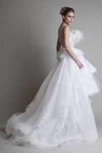 Image 2 - Freeshipping 한정판 화려한 깃털 레이스 신부 웨딩 드레스