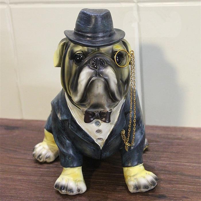 Nová kreativní osobnost kontinentální buldok zábava americký pan pes pryskyřice psí ozdoby figurka socha umělý nejlepší dárek