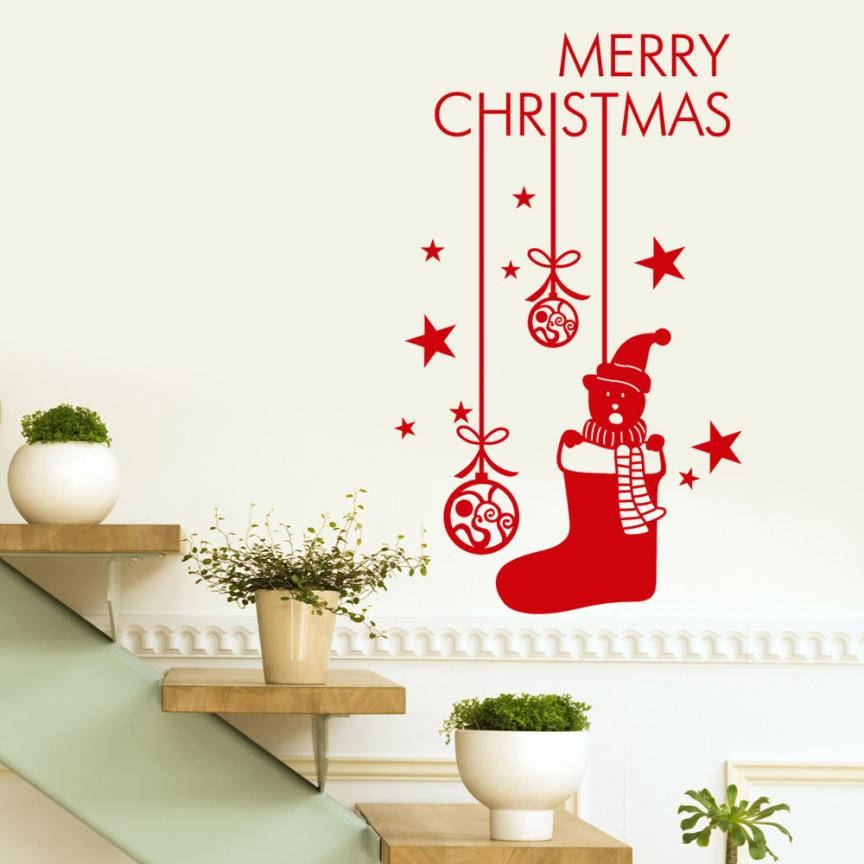 Home Decoration Happy New Year 2018 Merry Christmas Tree Wall Sticker Home Shop Windows Decals Decor Mar22
