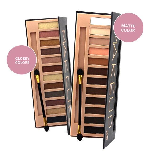 Hot моды фирменных макияж водонепроницаемый 12 цвет блеск мерцание составляют цвета nude пигменты профессиональная палитра теней для век