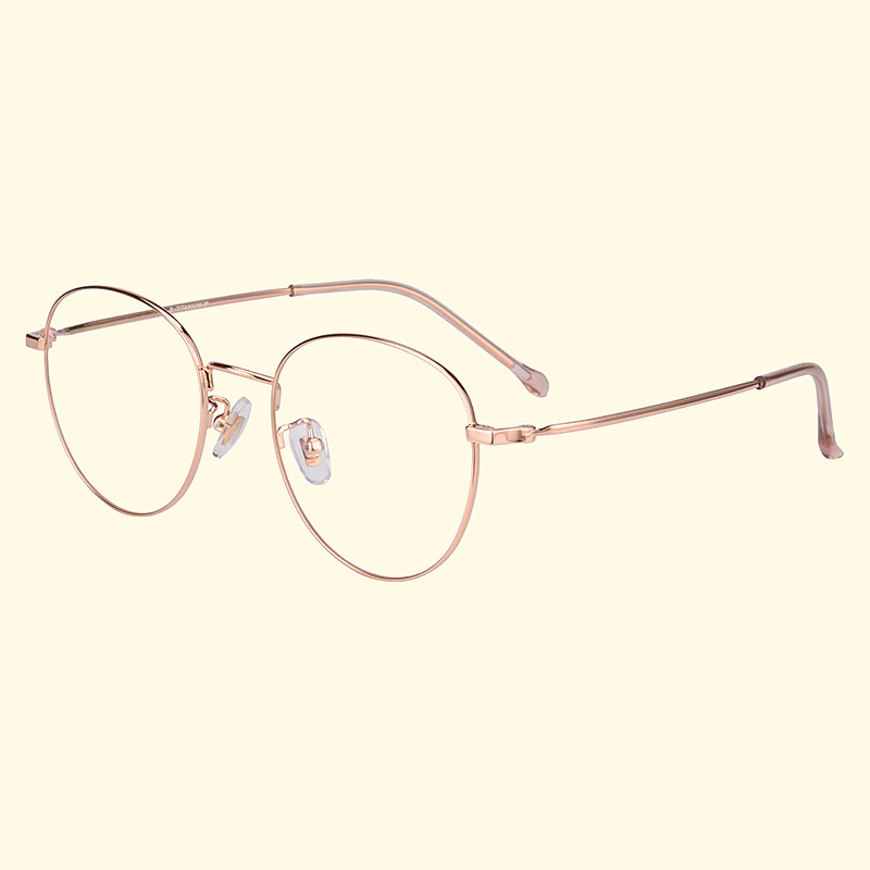 New pure titanium glasses frame retro art round flat mirror ladies metal round frame can be equipped with myopia frame