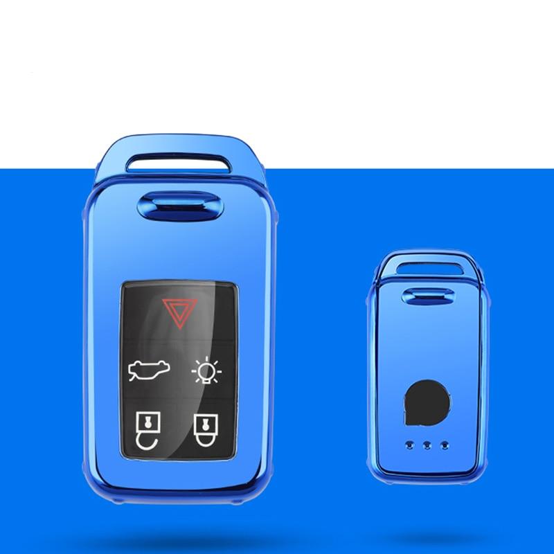 Защитный чехол ключа автомобиля чехол для VOLVO S60L S80L XC60 S60 V60 s90 cx60 xc90 vx90 стайлинга автомобилей смарт-ключ оболочки крышки брелок держатель - Название цвета: blue single shell