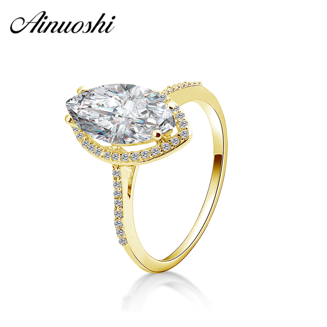 4e4fce95d39c1 US $132.16 48% OFF AINUOSHI 10k Solid Yellow Gold Ovoid Halo Ring 3 Carat  Marquise Cut Luxury Big Stone Women Ring Bridal Band Anillo de joyeria-in  ...