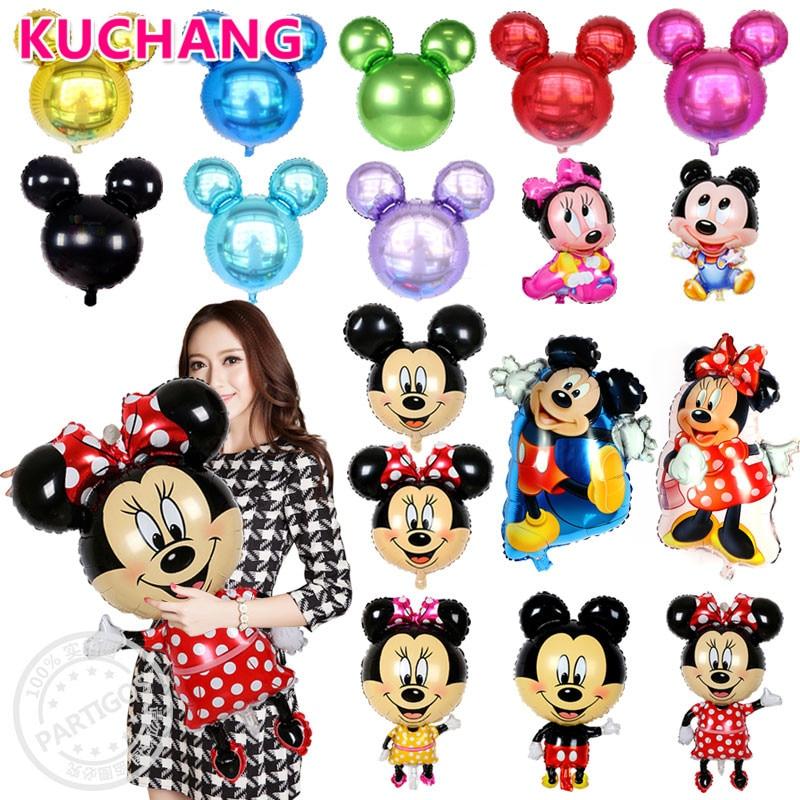 1tk suur suurusega koomiks Mickey Minnie hiire fooliumist õhupallid täispuhutavad beebi dušš lapsed sünnipäeva teenetemärgid tarned globosid