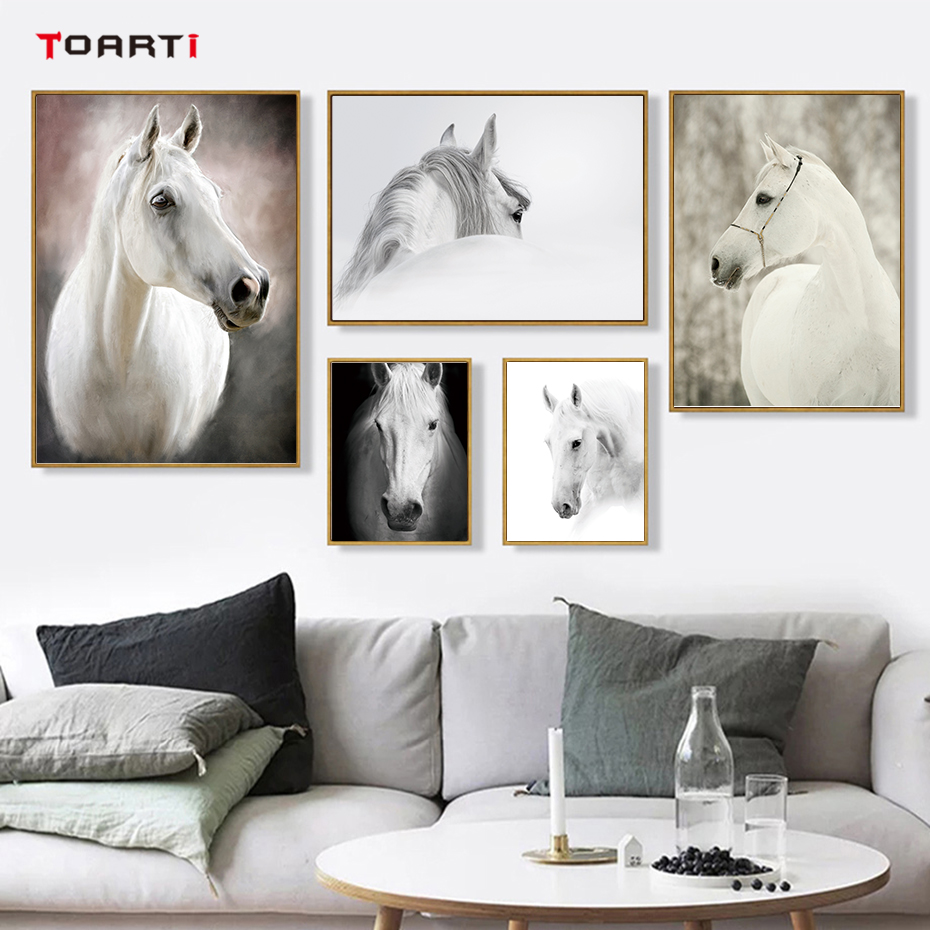 Black and White Horse poster print wall art nordic animal HD photos picture canvas painting modern living room home decor