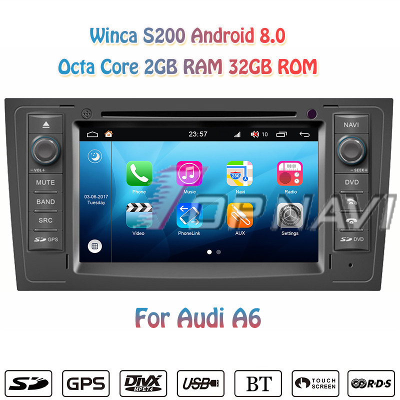 Topnavi 7'' Octa Core S200 Android 8.0 Car DVD Multimedia Player for <font><b>Audi</b></font> <font><b>A6</b></font> Auto Radio Stereo <font><b>GPS</b></font> <font><b>Navigation</b></font> Double Din 2+32G image