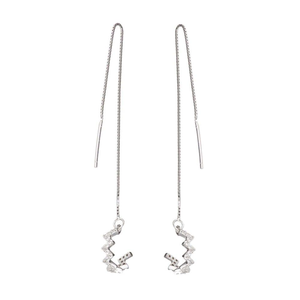 e9356722d PIXNOR 925 Sterling Silver Wave Cuff Chain Dangle Earrings Wrap Tassel  Earrings for Women Jewelry