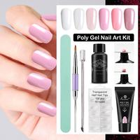 New Fashion UV Poly Gel Nail Finger Extension Tips Polished Strip Steel Pusher Engraved Pen