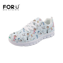 FORUDESIGNS Nurses Printed Nursing Shoes Women Comfortable Sneakers Autumn Light Lace-up Flats Fashion Girls Footware 2019