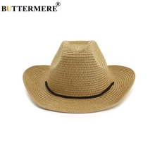 e090c2f7b52 BUTTERMERE Hat Cowboy Men Women Wide Brim Sun Hat Casual Khaki Beach Straw  Hat Female Male Spring Summer Cowboy Hat-in Cowboy Hats from Apparel  Accessories ...