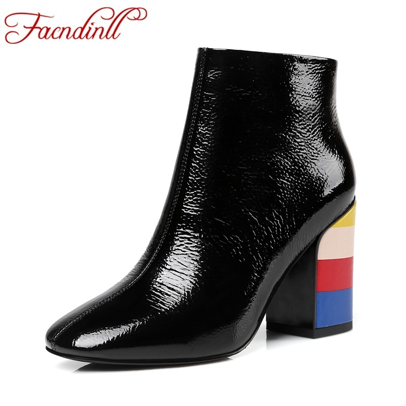 FACNDINLL superstar shoes cow suede leather autumn shoes mixed color high heels lady fashion chelsea boots zip women ankle boots