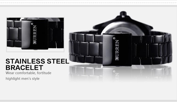 Mens Watches Top Luxury Brand CURREN 18 Men Full Steel Watches Quartz Watch Analog Waterproof Sports Army Military WristWatch 10
