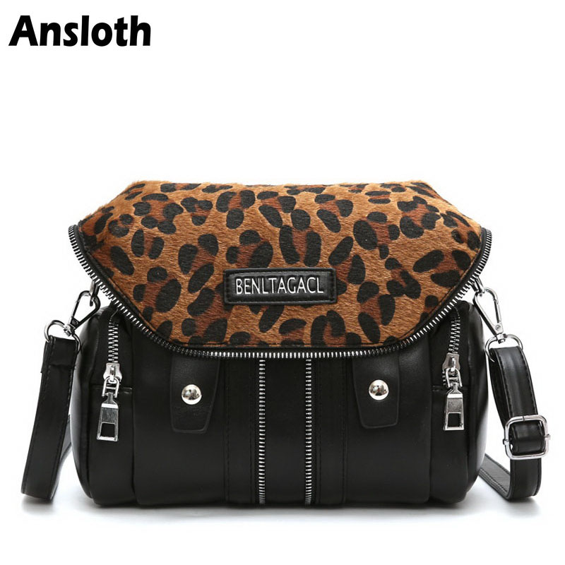 Ansloth New Winter Vintage Women's Shoulder Bags Patchwork Leopard PU Leather Bag Casual Black Crossbody Bags For Women HPS243