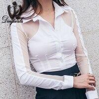Dingaozlz Kore 2017 seksi OL beyaz gömlek moda uzun kollu örgü dikiş kadınlar bluz zarif kadın casual tops