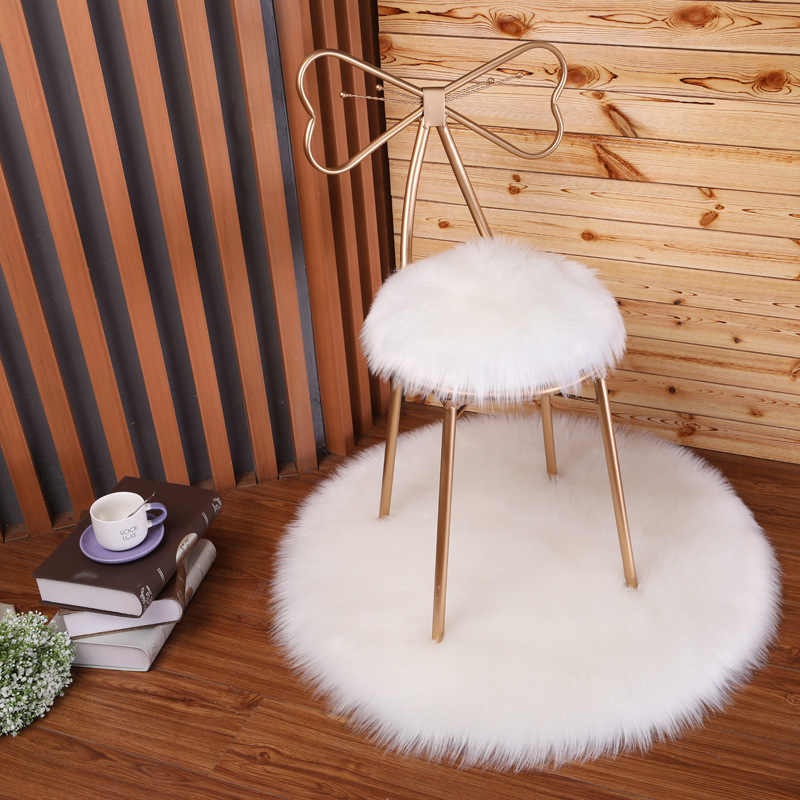 Admirable Fluffy Round Faux Fur Carpet For Living Room Kids Bed Room Pabps2019 Chair Design Images Pabps2019Com