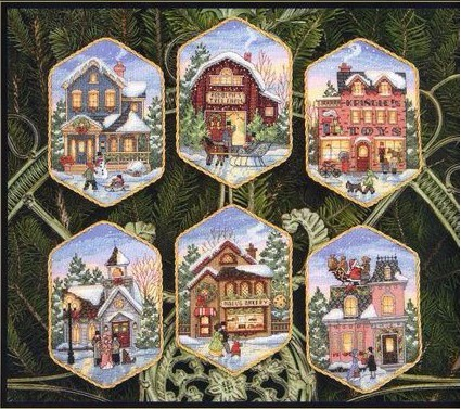 Cross Stitch Kit Christmas Village Ornament dim 08785