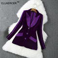 CLUXERCER Velvet Marca Blazer Mujeres Chaqueta Delgada de La Manera de Las Mujeres Con Muesca Único Breasted Botón Larga Chaqueta de Terciopelo Fenimino