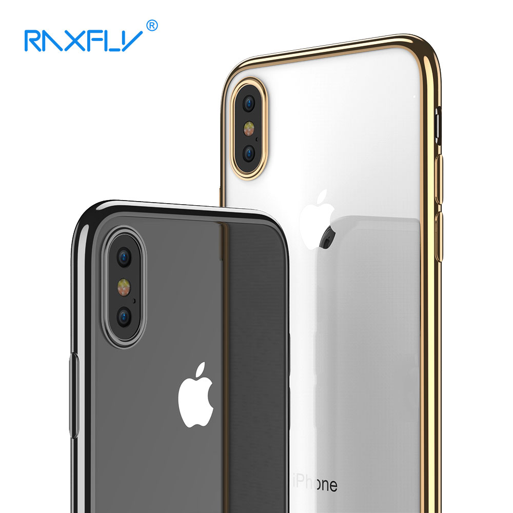RAXFLY For iPhone X Case Soft TPU Cases For iPhone X 10 Ten Original Design Luxury Transparent Plating Cover Capa Coque Fundas