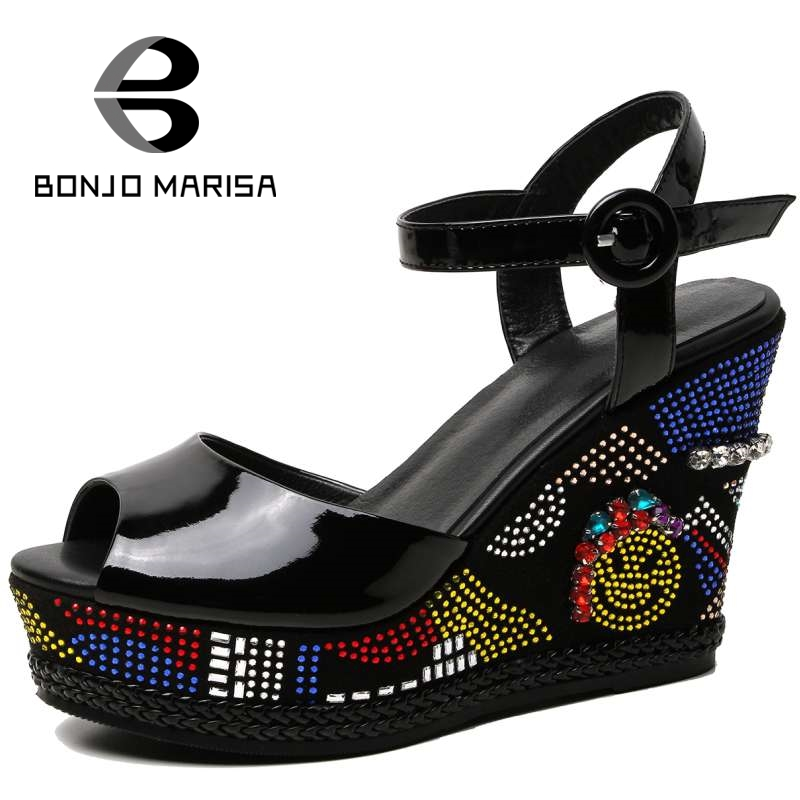BONJOMARISA Fashion Women Rhinestone High Heel Wedge Summer Shoes Woman Genuine Leather Ankle Strap Open Toe Platform Sandals ankle strap wedge heel shoes for women comfort open toe shoes girls sandals 2016 new summer