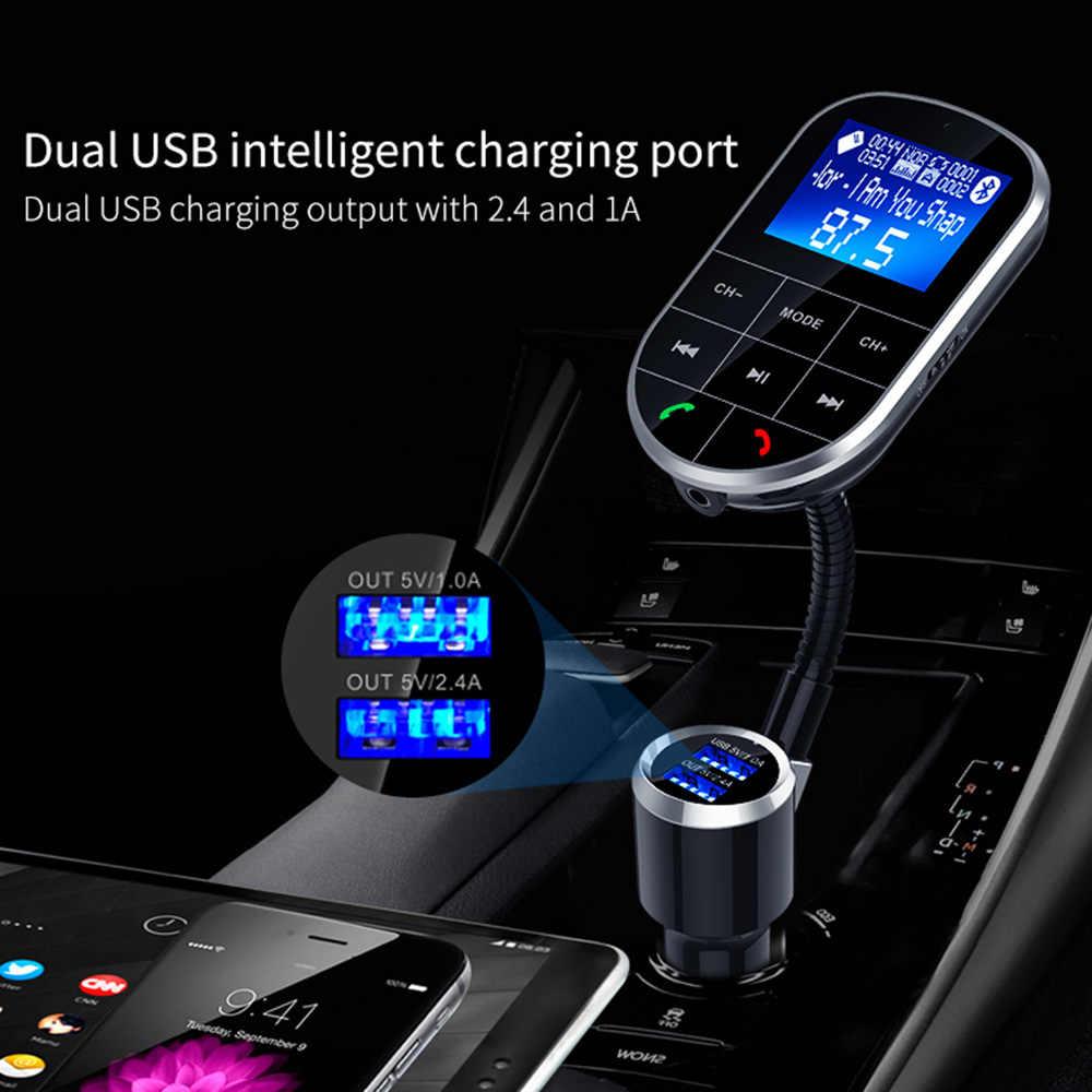 Автомобильный fm-передатчик модулятор Aux аудио выход Bluetooth 4,2 Громкая связь автомобильный комплект светодиодный экран 5 в 3.4A Dual USB Supoort TF карта u-диск