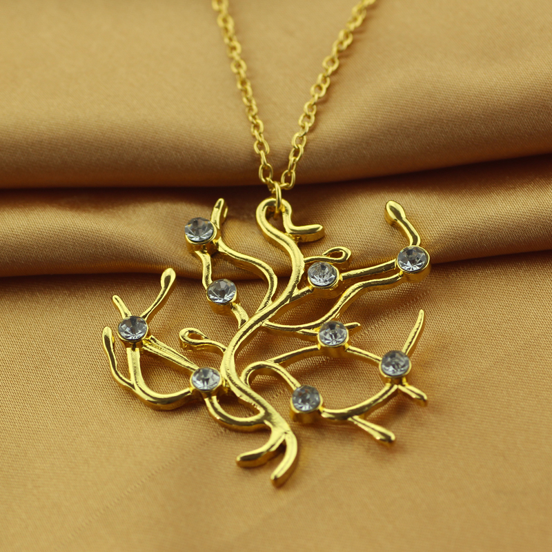ea9b9e4947272 US $20.0  wholesale 20PCS/Lot Beauty and the Beast Necklace Belle Rose tree  Necklace Charm Crystal Golden Pendant Gift For Women's gift-in Pendant ...