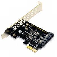 Carte contrôleur PCI Express SATA 3, convertisseur adaptateur interne PCIe SATA III 6 GB/s 2 ports pour ordinateur de bureau Support SSD et HDD w