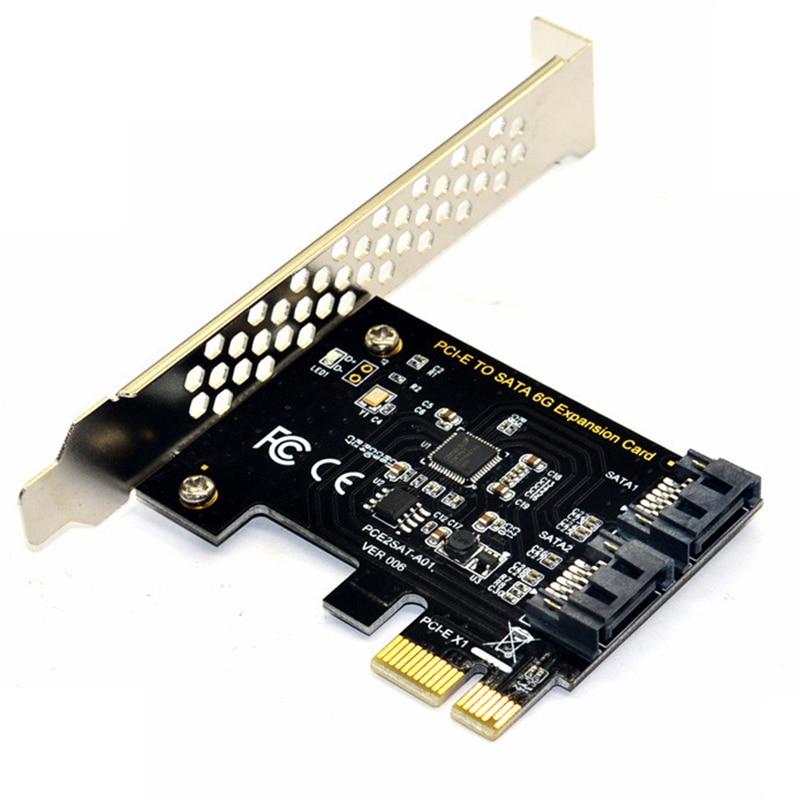Tarjeta de controlador PCI Express SATA 3, 2 puertos PCIe SATA III 6 Gb/s convertidor adaptador interno para PC de escritorio soporte SSD y HDD w