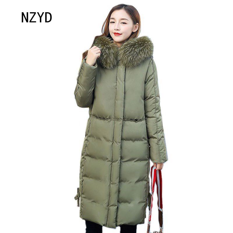 Winter Women Overcoat 2017 New arrival Hooded Fur collar Medium long Solid collar Cotton Jacket Loose Plus-size Parkas LADIES294 michael kors new women s size medium m solid brown raglan peasant blouse $49