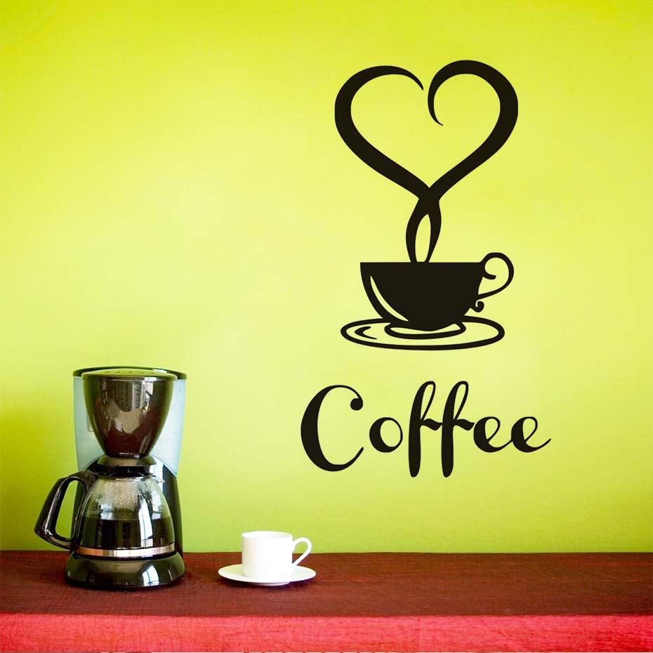 Heart Shaped Mist A Cup Of Coffee Wall Stickers Removable Vinyl ...