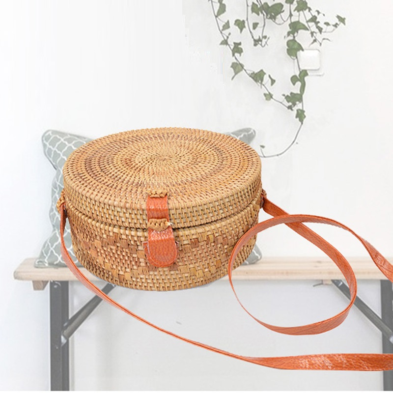 Bali Circle Straw Bags for Women Handmade Round Beach bag Summer Rattan Circular Handbags Women Messenger Bag Kintted Cross Bag handmade flower appliques straw woven bulk bags trendy summer styles beach travel tote bags women beatiful handbags