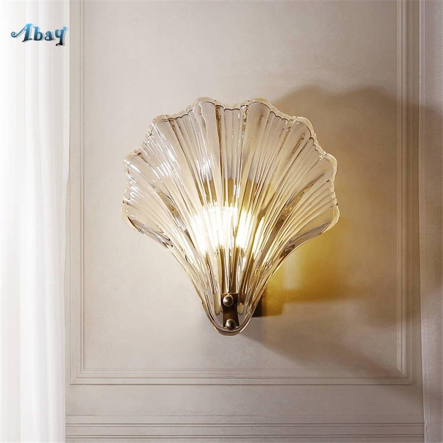 Art déco verre coquille cuivre applique murale pour chambre cuisine bar plage style salon décoration luxe mur LED appliques lumière