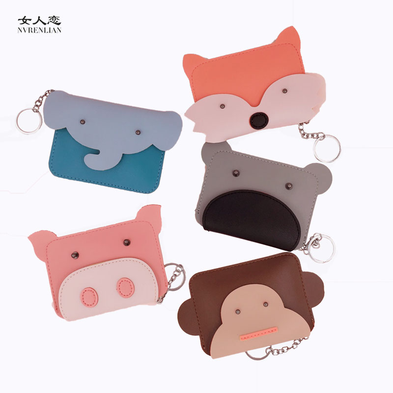 animal women coin purses small mini wallet for girls cute cartoon key headset card holder money leather bags elephant pig fox owl coin purses women wallets small mini cute cartoon card holder key headset money bags for girls ladies purse pink green blue