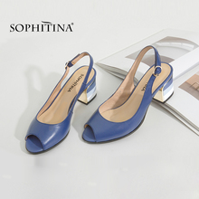 SOPHITINA Sandals Handmade Genuine Leather 2019 New Sexy Lady Peep Toe Sandals Square Heel Buckle Strap Classics Shoes Woman S22
