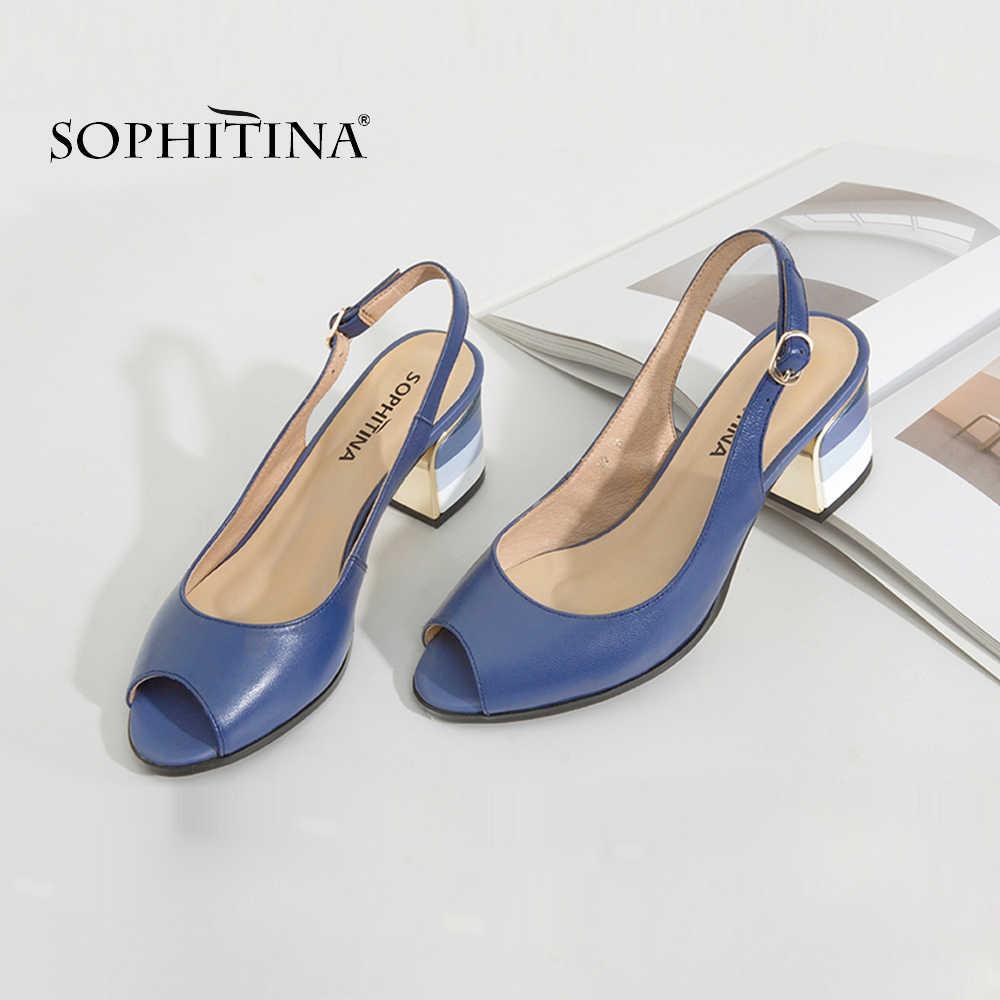 SOPHITINA moda sandalet el yapımı hakiki deri seksi bayan Peep Toe sandalet kare topuk toka askı klasikleri ayakkabı kadın S22