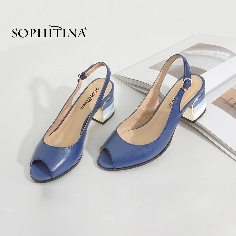 SOPHITINA sandales à la main en cuir véritable 2019 nouvelle dame Sexy Peep Toe sandales talon carré boucle sangle classiques chaussures femme S22