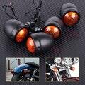 Motocicleta 4 unids 12 v bullet negro señal de vuelta luces indicadoras de la lámpara en forma para harley bobber chopper honda yamaha suzuki bici de la suciedad