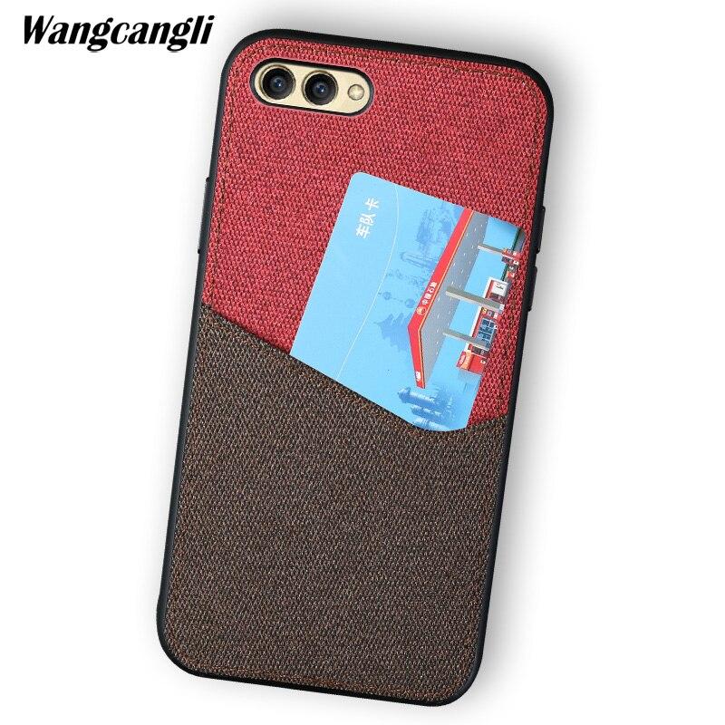 Wangcangli personnalisé en cuir toile couture carte tout compris étui de téléphone portable pour Huawei honour 10 coquille incassable