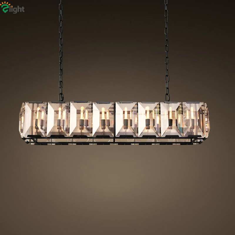 American Retro RH Loft Lustre K9 Big Crystal Led Pendant Light Restaurant Hotel Luxury Square Crystal E14 Suspension Lamp rh led pendant lamp loft restaurant bar