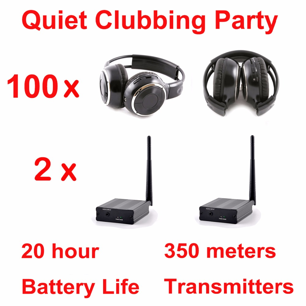 Silent Disco complete system stereo folding wireless headphones - Quiet Clubbing Party Bundle (100 Headphones + 2 Transmitters) silent disco complete system black led wireless headphones quiet clubbing party bundle 30 headphones 3 transmitters