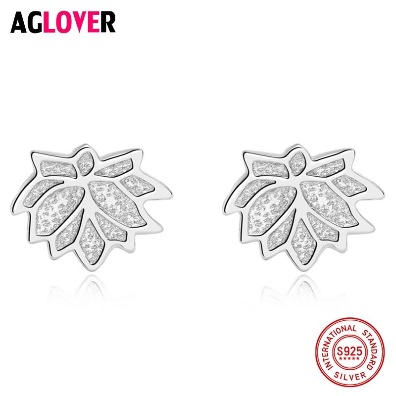 925 Sterling Silver Nice Leaves Shape Earrings For Women Stud Earring Jewelry Gift