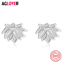 925 Sterling Silver Nice Leaves Shape Silver Earrings For Women Stud Earring Sterling Silver Jewelry Gift czcity brand elegant petal delicate women 925 sterling silver stud earrings for women genuine silver jewelry gift